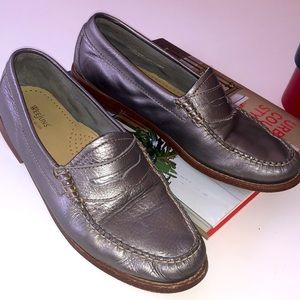 Weejuns by Bass Silver Penny Loafers